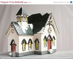 SALE Christmas Village Church, Department 56, Vintage Holiday Building, Snow House