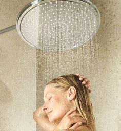 Rainshower System Shower system for wall mounting.  Rainshower® Jumbo is a large chrome shower head which measures 16inin diameter and is fixed to the wall or ceiling with a shower arm.