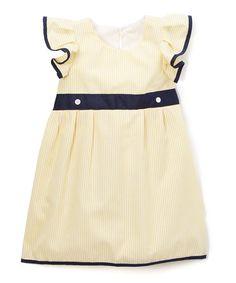 Yellow Angel Sleeve Dress - Infant & Toddler