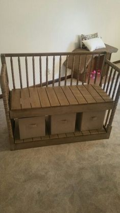 Repurposed crib / bench by Crafty Lefty Refurbished Furniture, Repurposed Furniture, Furniture Makeover, Baby Crib Diy, Baby Cribs, Baby Beds, Furniture Projects, Home Furniture, Craft Projects