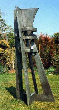 Wood & aluminum resin sculpture by Peter Thursby titled: 'Watch Tower 1'