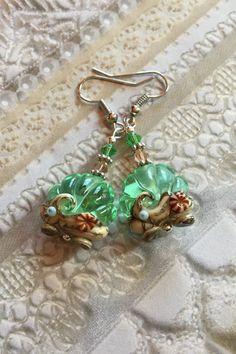 Pale Emerald Shell SRA Lampwork Earrings, Lampwork Earrings, Lampwork Jewelry, Shell Earrings, Mothers Day, Gift For Her, SRA Lampwork