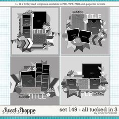 Digital Scrapbook Templates, Cindy's Layered Templates - Set 149: All Tucked In 3