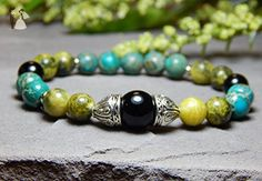 Calming Gemstone Bracelet Green and Turquoise Nature Yoga Summer Jewelry Beaded Geek Jewelry, Bead Jewellery, Gothic Jewelry, Pendant Jewelry, Beaded Jewelry, Jewelry Design, Jewelry Ideas, Bullet Jewelry, Jewelry Necklaces