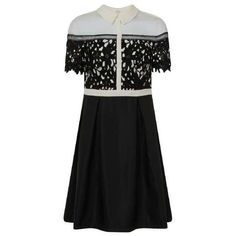 **Chi Chi London Curve Black Laser Cut Collared Dress (4,705 PHP) ❤ liked on Polyvore featuring dresses, laser cut dress, collar dress and chi chi dresses