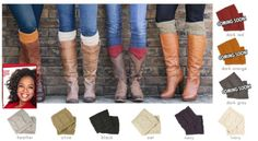"""PINTEREST PRE-SALE EVENT..OPRAHS FAVORITE BOOT CUFF! Just $16.00 and ONLY A FEW LEFT IN SEVERAL COLORS! Pinterest pinners get a head start on the LUXE Auction sale which starts at 7:30 PM EST tonight for everyone else. So click the pic and type """"SOLD"""" before they're sold out!"""