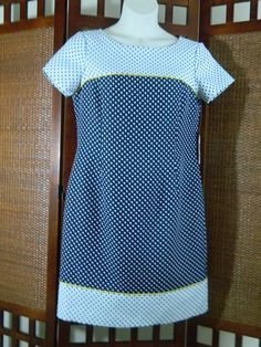 Jones New York w/ Polka Dots Short Sleeve Scoop-neck Ponte Knit Versatile Dress, Size 14 ~ XL  NEW WITH TAGS RETAIL $128 Now only $34.99