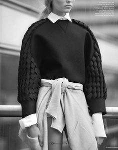 The sleeves and collar of the blouse + the texture of the sweater (Elle Vietnam, November 2014).