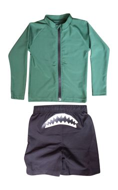 Shark Attack (Green) Long-Sleeve Rash Guard Set