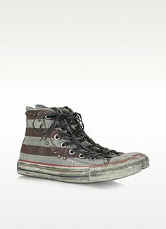 Distressed Canvas High Top Sneaker w/Stars & Crystals - Converse Limited Edition