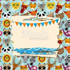 Vintage scrap template card with photo frame and animals background Royalty Free Stock Vector Art Illustration