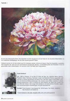 Malkurs – Chrysanthemen Aquarelle   Möglichkeiten von Gesso und Strukturpasten im Aquarell – Artikel von Frank Koebsch in der Zeitschrift Palette – Schlussseite