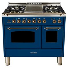 Hallman 40 in. 4.0 cu. ft. Double Oven Dual Fuel Italian Range True Convection, 5 Burners, Griddle, LP Gas, Bronze Trim in Blue