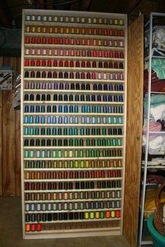 Sewing Thread Storage Cabinets Best Thread Rack Ever Thread Storage, Sewing Room Storage, Sewing Room Organization, Craft Room Storage, My Sewing Room, Sewing Rooms, Craft Rooms, Organization Ideas, Ribbon Storage