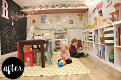 We transformed a neutral basement space into a colorful playroom for our toddlers. We used many items that we already had on hand and lots of organization to create a cozy, whimsical space to enjoy the winter months. We painted one wall with chalkboard paint, strung up some outdoor cafe lights and hung some art on the walls.