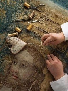 Tapestry repair by hand........ #TextileWaste #Upcycle #Recycle #DIY #GreenLiving #Craft #Handmade #Woven #Tapestry Sculpture Textile, Art Textile, Louise Nevelson, Art Du Monde, Art Tribal, Lesage, Tapestry Design, Tapestry Weaving, Religious Art