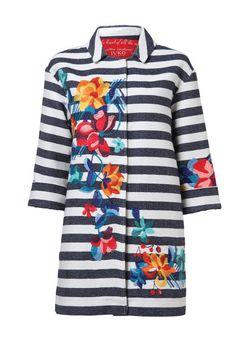 Striped Coat, Floral Embroid. - Coat | Ivko Woman