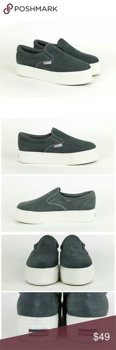 """Superga suede platform flats slip ons Tag under tongue reads Size 39 US 8. Superga suede platform slip on shoes. Suede leather upper. Rubber outsole. 1.5"""" vulcanized platform. Worn once excellent condition! Superga Shoes Sneakers"""