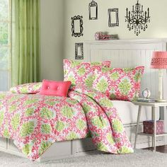 Pink and green damask bedding