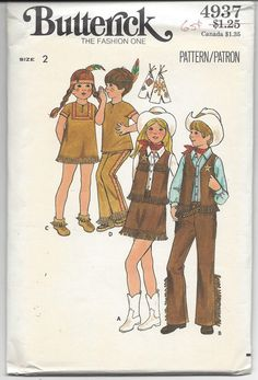 1970s Butterick 4937, Childrens Costume: Semi-fitted Indian top or dress has round neck ,front slit with button and loop closing and ribbon trim.