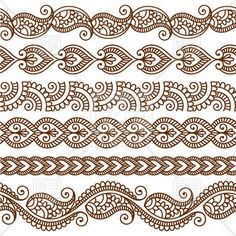 Borders and frames in mehndi style - ethnic ornament, 28528, download royalty-free vector clipart (EPS)
