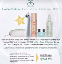 Genius Ultra special value package on sale thru 11/16/2016!   www.nicolemorales.arbonne.com