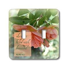 Beautiful Moments Peach Roses Inspirational Quotes Romance - Light Switch Covers - double toggle switch