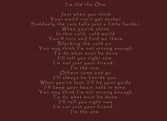 "This is the lyrics for the song, ""I'm the One,"" which is used in the book trailer for October Breezes.  I wrote the lyrics."