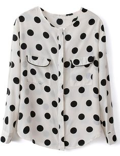To find out about the White Long Sleeve Polka Dot Pockets Chiffon Blouse at SHEIN, part of our latest Blouses ready to shop online today! Polka Dot Blouse, Polka Dots, Women's Dresses, Party Dresses, White Long Sleeve, Cute Tops, Pulls, What To Wear, Style Me