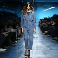 Denim jumpsuit by Dior, seen at the fall-winter 2017 fashion show during Paris Fashion Week