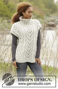 Come Winter - Knitted DROPS poncho with cables and high collar in 1 thread Cloud or 2 threads Air. Size S-XXXL. - Free pattern by DROPS Design Knit Shrug, Knit Vest, Knitted Poncho, Knitting Paterns, Free Knitting, Crochet Patterns, Drops Design, Vest Pattern, Free Pattern