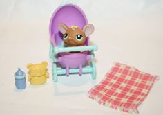 Littlest Pet Shop Accessory Purple Teal Baby Buggy Stroller Pet and accessories