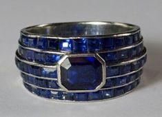 An Impressive Sapphire Set Art Deco Ring, C.1930s,