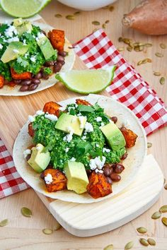 Sweet Potato and Black Bean Tacos with Swiss Chard Pesto