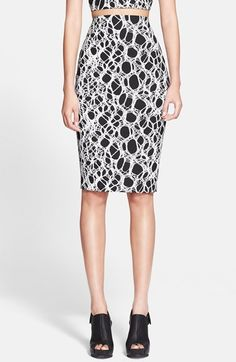 Free shipping and returns on Elizabeth and James 'Aisling' Foiled Pencil Skirt at Nordstrom.com. A foiled motif casts a thick tactile web over a street-chic pencil skirt topped by a high, silhouette-lengthening waist.