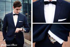 Jak ubrać się na przyjęcie black tie? Biała koszula, czarna muszka i wieczorowy, czarny garnitur? Zainspiruj się!  #blacktie #poszetka #muszka Mens Fashion   Menswear   Men's Apparel  Men's Outfit   Sophisticated Style   Moda Masculina   Mens Shirt   Elegant
