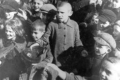 Lodz, Poland, Children in the ghetto. All of these children were murdered