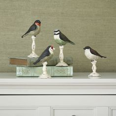 4 Piece Barfleur Resin Birds on Pedestal Statue Set