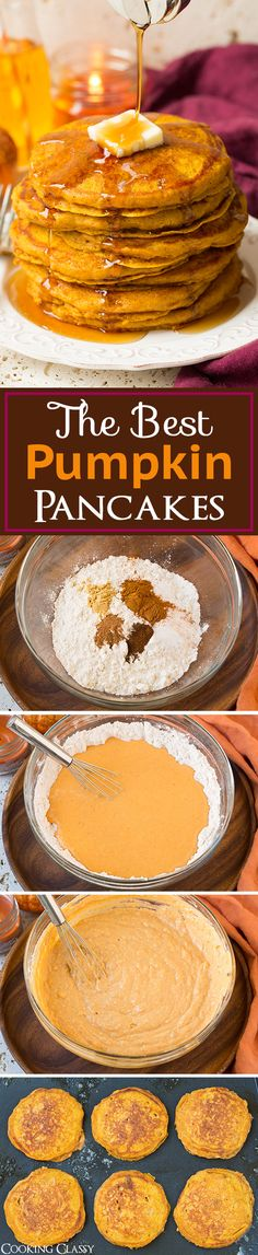 KF tried✅✅ Pumpkin Pancakes - these are TO DIE FOR! My mom said they were the best pancakes she's ever eaten! Best fall pancakes ever! What's For Breakfast, Breakfast Dishes, Breakfast Recipes, Pumpkin Recipes, Fall Recipes, Holiday Recipes, Waffles, Pumpkin Pancakes, Love Food