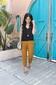 casual summer outfit with black tank and tan pants and leopard slides with grey crossbody bag and long gold disc pendant necklace and tan leather earrings Really Cute Outfits, Cute Winter Outfits, Summer Outfits Women, Black Summer Outfits, Autumn Outfits, Mom Outfits, Skirt Outfits, Everyday Casual Outfits, Dressy Casual Outfits