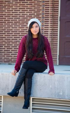 Knitted Burgundy Sweater - Stylishlyme