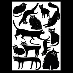 Black cats all shapes and sizes, often unhappy #cat #cats #illustration #blackcat