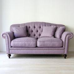 Classic Fabric 2P Sofa (パープル) - インテリアショップ・キノ Interior shop kino:アンティークオブジェやヨーロッパの家具・雑貨
