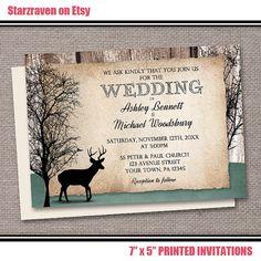 Handmade, Rustic Deer Wedding Invitations