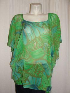 ASHLEY STEWART Womens 18/20 Green Brown Sheer Tropic Short Sleeve Tunic Blouse #AshleyStewart #Blouse #Casual