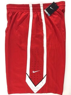 Men's Nike DriFit Basketball Shorts with Swoosh, Size XL, Style 521112. Nike Swoosh on left leg. Size: Adult XL. Pockets on both sides. Color: Red with white and a bit of black. | eBay!