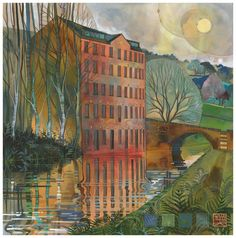 Woodhouse Mill - new print in stock by Kate Lycett as part of our exhibition WATER & LIGHT Exciting Times Ahead, Beauty In Art, Inspirational Artwork, Inspiring Art, Pastel, Water Lighting, Night City, Landscape Paintings, Landscapes
