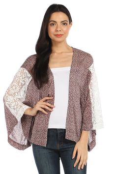 FLORAL LACE PANEL INSET CARDIGAN- Taupe