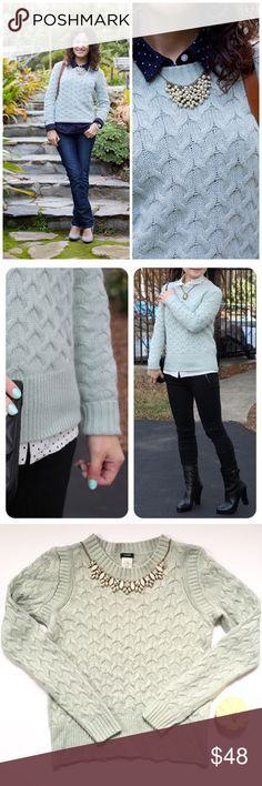 🆕 List! J. Crew mint honeycomb textured sweater The perfect-to-pair-with, sweater! Plaid, gingham, striped....so many possibilities! Excellent pre-loved condition. There is a small discoloration on left sleeve wrist, but is hard to notice. Viscose, nylon, wool & angora rabbit hair blend. Length is 20 1/2in. and bust is 16 1/2in. J. Crew Sweaters