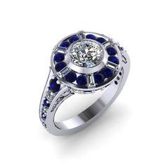 R2D2 Inspired Halo Ring 14 Karat White Gold by PaulMichaelDesign on Etsy https://www.etsy.com/listing/169813687/r2d2-inspired-halo-ring-14-karat-white